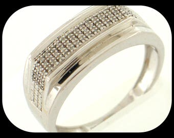 New NENS 57 Diamond (0.25 CTW) Anniversary Band RING 925 Sterling Silver