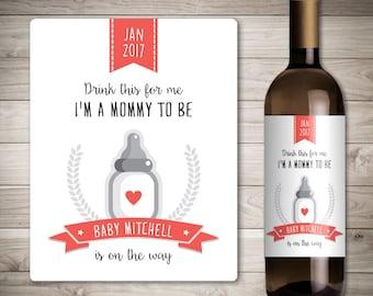 Bien-aimé La grossesse annonce bébé annonce vin étiquette de bouteille LY31
