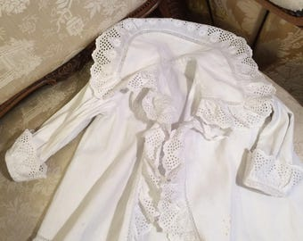 Edwardian corded cotton and broderie baby hacket. 26 chestx16 length. Strong