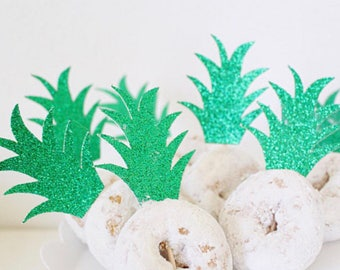 Pineapple Donut Topper-Pineapple Cupcake Toppers-Pineapple Party -Pineapple Decorations-Luau Bridal Shower-Aloha Bridal Shower-READY TO SHIP