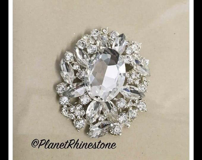 Silver Oval Rhinestone Brooche #B-12