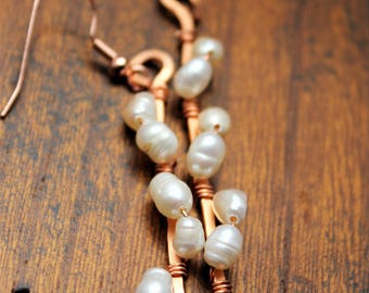 Copper wire drop earrings with fresh water pearls