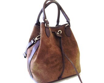 Italian Leather hand made bucket bag in taupe suede