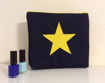 Makeup bag, cosmetic purse, makeup purse with yellow star, bright yellow zip purse, star wash bag,Denim  wash bag,makeup bag,pencil case