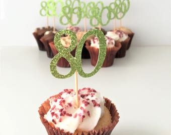 Cupcake Number Toppers, 80th Birthday Numbers, Eighty, Set of 10 Glitter Picks, Party Decoration, Party Accessories, Customised