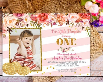 pink and gold pumpkin first birthday invitation, our little pumpkin is turning one invitation, girl fall pumpkin birthday invitation,