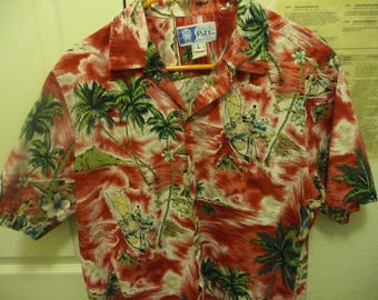 Vintage Styled RJC Ltd Men's L S/S Aloha Hawaiian Shirt Red Background with Floral and Palmtree Design