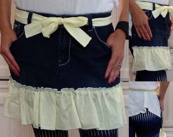 SALE Denim half apron cotton yellow gingham ruffle yellow gingham long waist ties white bling pocket dark blue denim apron repurposed denim