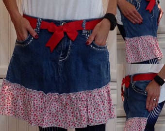 SALE Denim half apron cotton pink flowered ruffle red grosgrain ribbon ties long waist ties dark blue denim apron repurposed denim