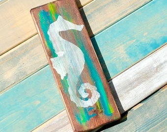 Seahorse painted sign seahorse wall hanging seahorse sign beach house decor beach cottage decor rustic beach decor rustic beach house