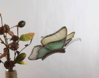 Glass Butterfly Suncatcher Window Art Glass, Butterfly Garden Decor Bereavement gift Garden lover gift, One of a kind gift