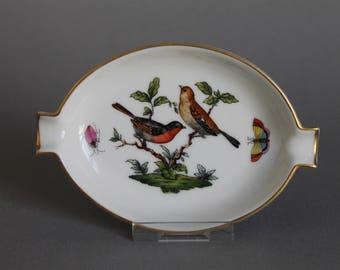Herend Rothschild Bird RO Oval Ashtray With Lips # 7784