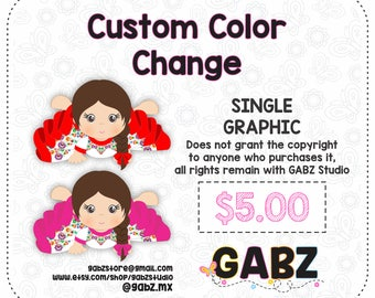 Custom Color Change for Single Graphic. Non-exclusive Pre-made sets color change. Recoloring existing clipart.