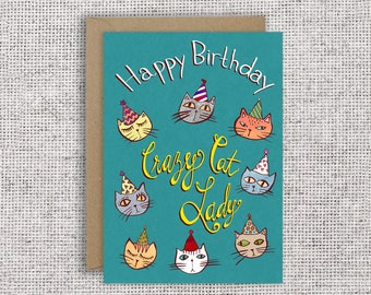 Happy Birthday Crazy Cat Lady | Funny Birthday Card, Cat Lover Greeting Card, cat card, crazy cat lady, Feline enthusiast, Spinster card