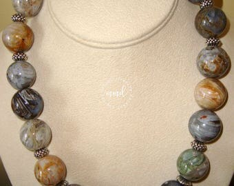Large, Round Brown Agate and Sterling Silver Chunky Necklace