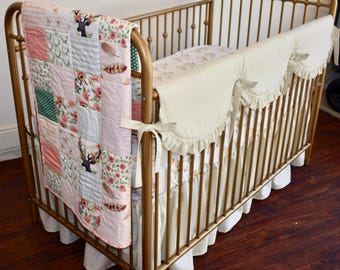 Floral Deer and Linen Crib Bedding in Champagne, scalloped rail guard, gathered skirt, country, shabby chic, roses, floral, ruffle rail