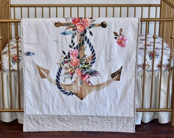 Floral anchor and Linen Crib Bedding in Champagne, scalloped rail guard, gathered skirt, shabby chic, roses, floral, ruffle rail rail guard