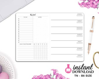 Printable TN Inserts - B6 Size / Foxy Fix #5 - Weekly Planner - Week on 1 Page  - Travelers Notebook