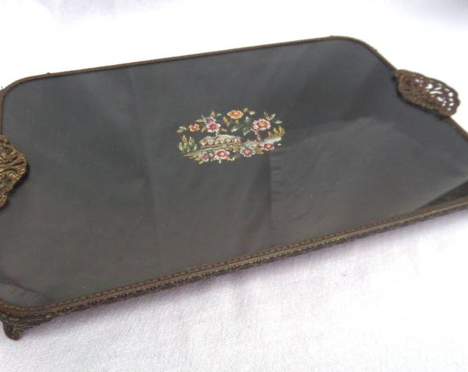 """Embroidered Black Lace 'Petit Point' Dressing Table Tray, Vintage Gilted Filigree Brass Vanity Tray, Regent of London, 13.5"""" x 8"""" x 1.25"""""""