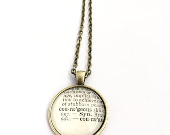 COURAGEOUS Vintage Dictionary Word Pendant