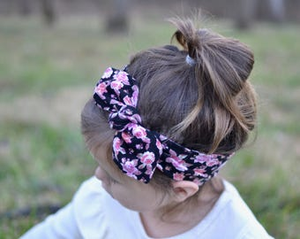 Knotted Bow Headband, Black Floral, Baby Turban, Baby Headwrap, Child's Turban, Toddler Headwrap, Adult Turban