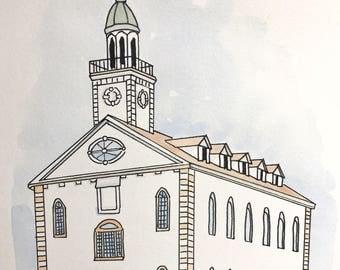 Kirtland, Ohio LDS Temple Watercolor