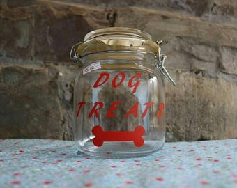 Dog Treat Jar- Dog gift, kitchen storage.