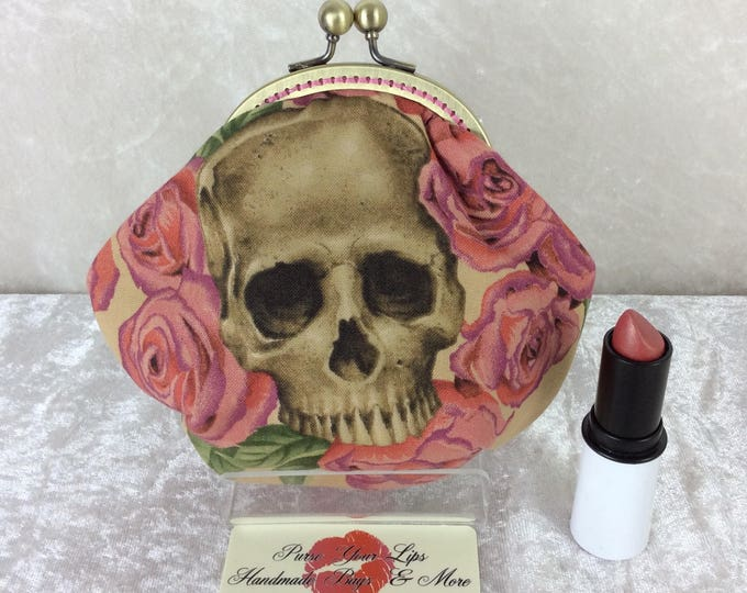 Gothic Skulls Resting in Roses frame coin purse wallet hand stitched Alexander Henry handmade in England