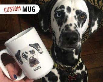 Custom Pet Portrait Coffee Mug (Face With Name)