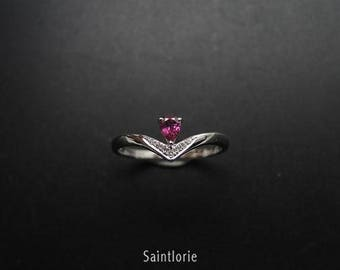 0.3 Carat Pink Tourmaline Engagement Ring