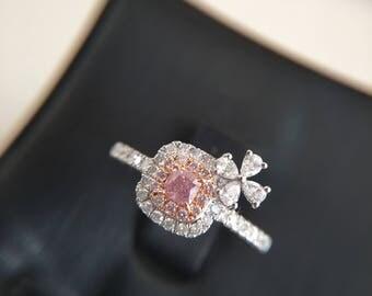 0.16 Carat Pink Diamond Engagement Ring Pink Stone Engagement Ring Pink Stone Ring Cushion Diamond Ring Cushion Pink Diamond Ring