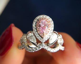 0.26 Carat Pink Diamond Engagement Ring Pink Stone Engagement Ring Pink Stone Ring Pear Diamond Ring Pear Pink Diamond Ring