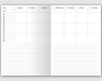 B6 Weekly Vertical View with Notes - Printable  - Traveler's Notebook - Wo2P - Minimalist