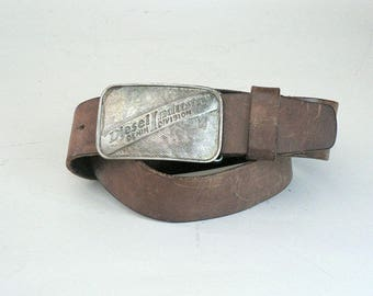 Mens 34 / 85  Brown Leather Belt With Large Diesel Buckle