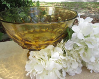 Large Amber Footed Bowl, Anchor Hocking, Glass Bowl with Stand