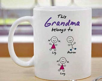 Personalized Grandma Coffee Mug  with names of grandkids - Custom Coffee Mug - Coffee Cup - Grandma Gift