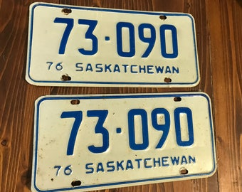 Pair of 1976 Saskatchewan License Plates 73-090