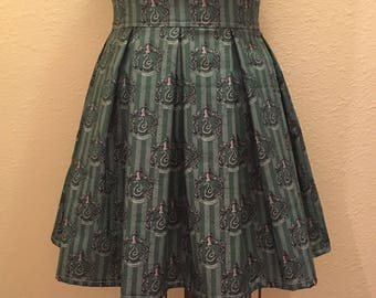 Harry Potter Slytherin House Printed Adult High Waisted Skater Skirt