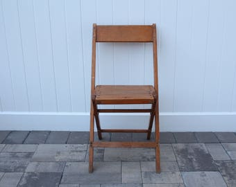 Vintage Snyder Chair Co Inc. Solid Oak Wood Folding Chair With Backrest & Metal Screws Made in USA American Chair Renting Brooklyn Flushing
