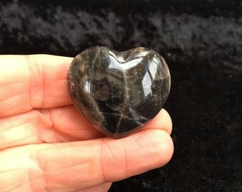 Black Moonstone Heart From Madagascar