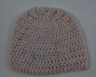 half price wool hat in cream and pink