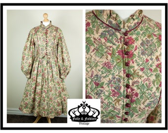 70s Liberty of London Print, Poet Sleeve, William Morris Floral Print, Prairie, Folk, Romantic Fit and Flare Dress by 'Origin', Size M/L