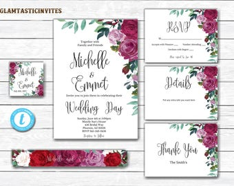 Wedding Invitation Template Set, Floral Wedding Invitation Template Set, Boho Wedding Invitation Set, Wedding Template, DIY Wedding Invite
