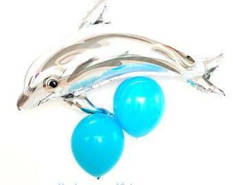 "37"" Dolphin Balloon.  Dolphin balloons. Under the sea party. Beach party. Kid's party. Luau theme party. Ocean theme. aquarium party."