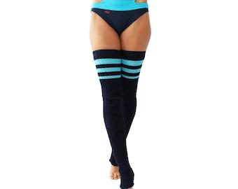 Wink Striped Stirrup Leg Warmers
