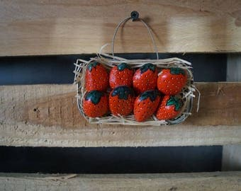 Tray strawberries decor painted pebbles