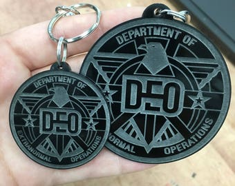 Supergirl DEO Badge Engraved Keychain