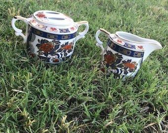 Vintage Sugar and Creamer Set, Japan, Porcelain, The Orient Inc., Sugar Bowl, Hand Decorated, Dining