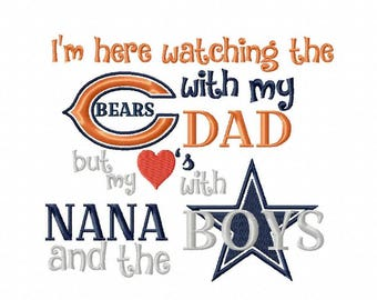 Watching the Bears with Dad but my heart's with Nana and the BoysEmbroidery Design, 4 Sizes, Instant Download