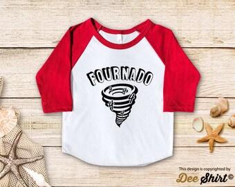 Fourth Birthday Shirt; 4th Birthday T-Shirt; Fournado; Four Year Old Kids Tee; Toddler 4 B-day Outfit; Cute Gift Birthday Boy Girl